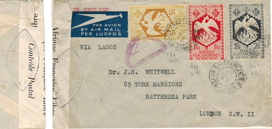 FRENCH EQUATORIAL AFRICA - 1943 censor cover to UK.