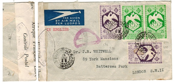 FRENCH EQUATORIAL AFRICA - 1944 censor cover to UK.