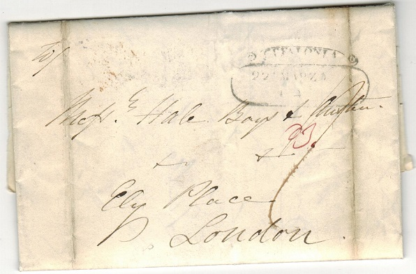 BR.PO.USED ABROAD (Cephalonia) - 1842 outer wrapper to UK used at CEFALONIA.
