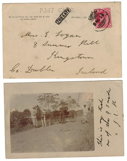 INDIA - 1909 1a rate postcard to Ireland used at DIKOM with TOO LATE h/s applied.