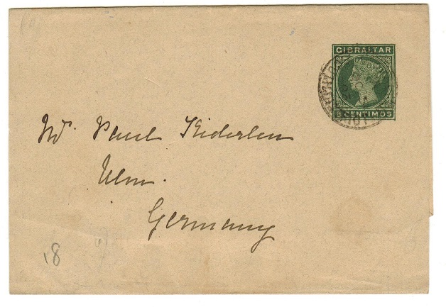GIBRALTAR - 1889 5c green postal stationery wrapper to Germany used at SOUTH DISTRICT.  H&G 6.