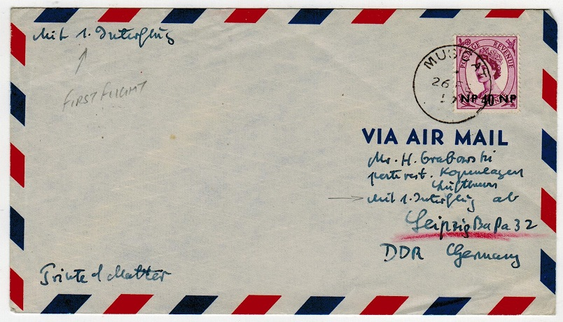 BR.PO.IN EA (Muscat) - 1957 first flight cover to Germany.
