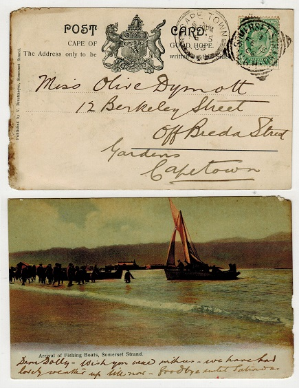 CAPE OF GOOD HOPE - 1906 1/2d local rate postcard to Cape Town used at SOMERSET STRAND.