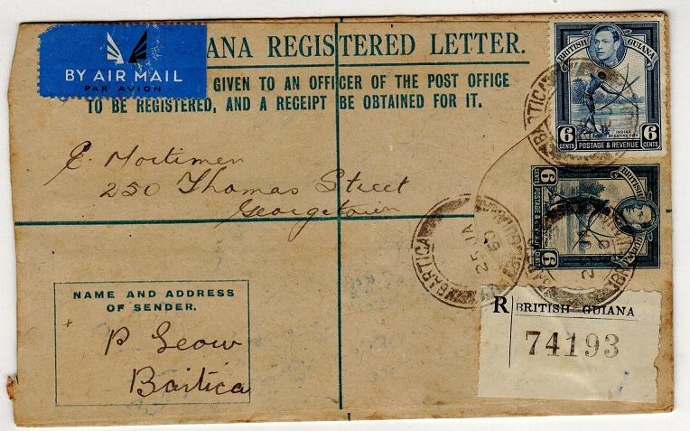 BRITISH GUIANA - 1939 6c blue RPSE addressed locally uprated and used at BARTICA.  H&G 12a.