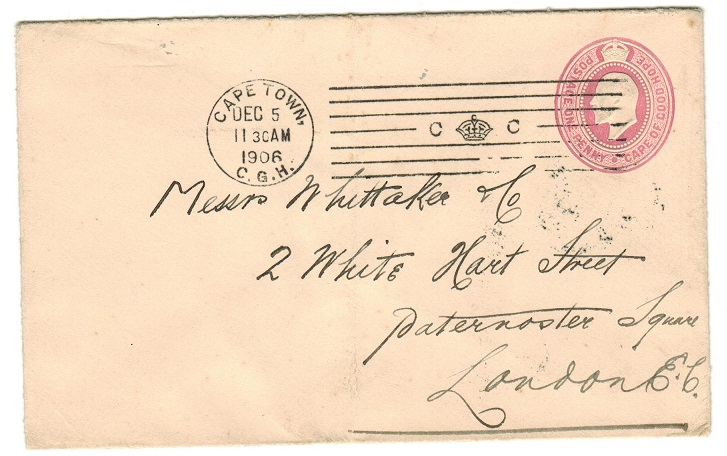 CAPE OF GOOD HOPE - 1903 1d pink PSE to UK with scarce