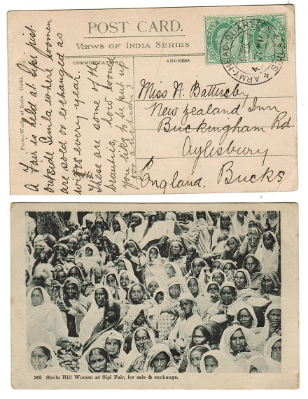 INDIA - 1911 1a rate postcard use to UK used at ARMY HEADQUARTERS/SIMLA.