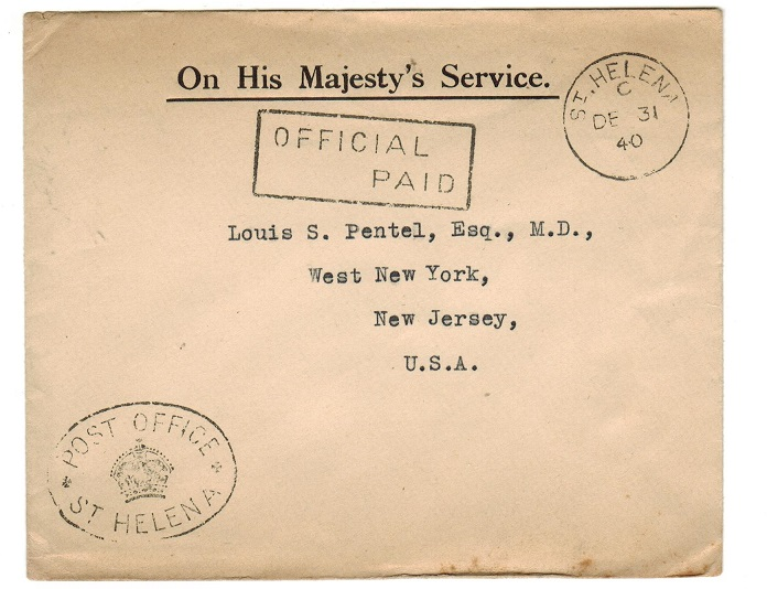 ST.HELENA - 1940 OFFICIAL PAID cover to USA.