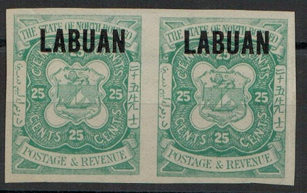 LABUAN - 1896 25c green IMPERFORATE PLATE PROOF pair.  SG 80.