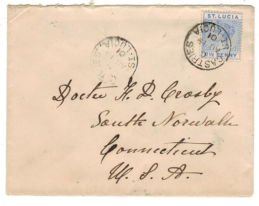 ST.LUCIA - 1901 2 1/2d rate cover to USA used at CASTRIES.