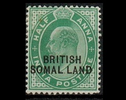 SOMALILAND - 1903 1/2a green mint with MISSING I IN SOMALILAND variety.  SG 25d.