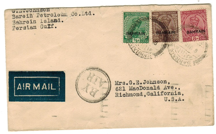 BAHRAIN - 1934 airmail cover to USA.