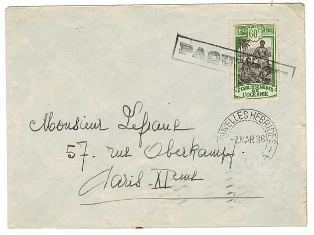 NEW HEBRIDES - 1936 PAQUEBOT cover to France used from VILA/NOUVELLES HEBRIDES.