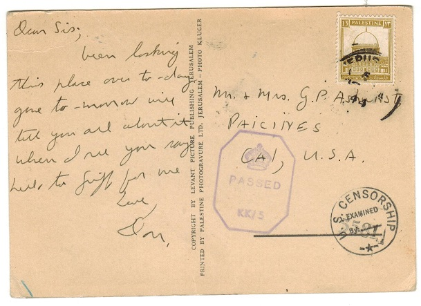 PALESTINE - 1941 13m rate censored postcard to USA.