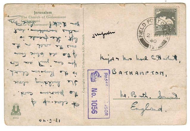 PALESTINE - 1940 10m rate FPO/121 censored postcard use to UK.