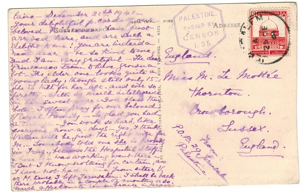 PALESTINE - 1941 8m rate censored postcard use to UK.
