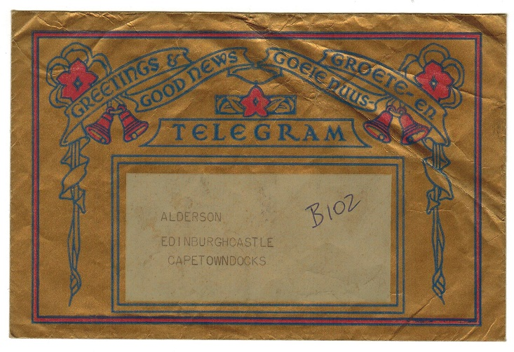 SOUTH AFRICA - 1950 (circa) used GREETING TELEGRAM envelope.