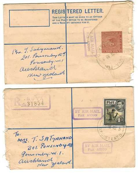 FIJI - 1937 2d+4d brown RPSE to New Zealand uprated with 1/- at SUVA.  H&G 6.