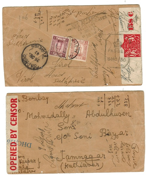 MALDIVE ISLANDS - 1942 8m rate censored cover to India.