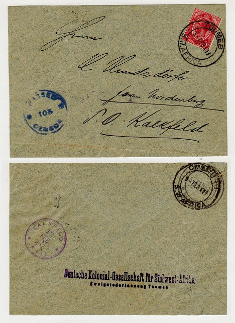 SOUTH WEST AFRICA - 1917 1d rate internal censored cover carried on KALFELD/RAIL from OMARURU.