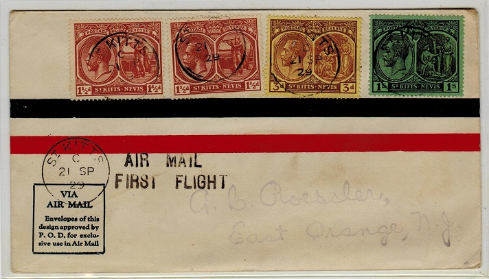 ST.KITTS - 1929 first flight cover to USA.