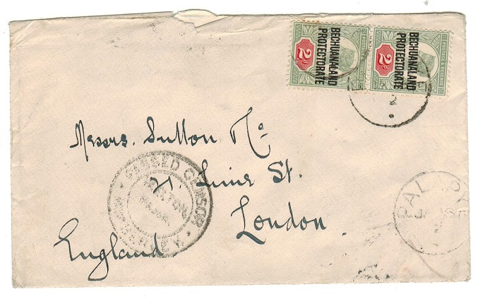 BECHUANALAND - 1902 4d rate cover to UK used from PALAPYE with PASSED CENSOR
