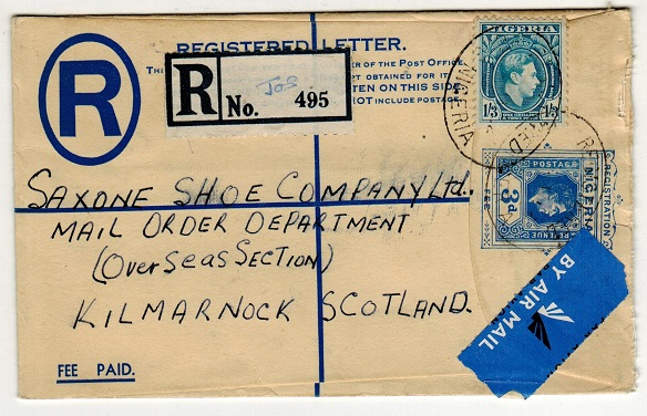 NIGERIA - 1937 3d blue RPSE to UK used at JOS.  H&G 5.