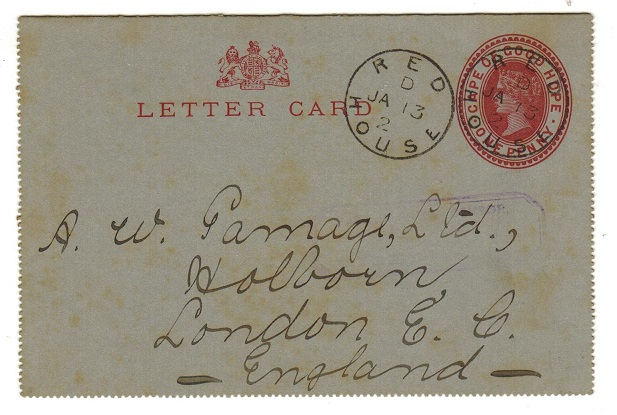 CAPE OF GOOD HOPE - 1895 1d carmine stationery letter card to UK used at RED HOUSE.  H&G 1.
