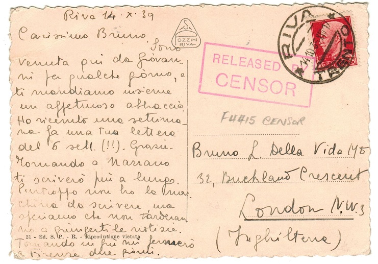 GREAT BRITAIN - 1939 early RELEASED BY CENSOR postcard from Italy.