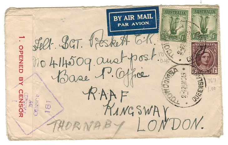 AUSTRALIA - 1943 2/1d rate censored cover to UK.