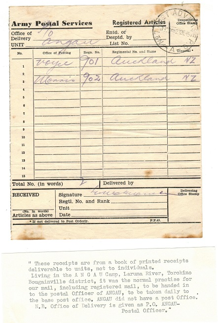 PAPUA NEW GUINEA - 1945 ARMY POSTAL SERVICE form for received articles.