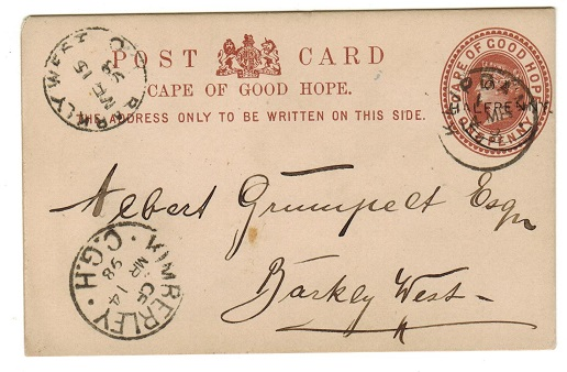 CAPE OF GOOD HOPE - 1894 1/2d on 1d brownish red PSC used at KLIPDAM.  H&G 8.