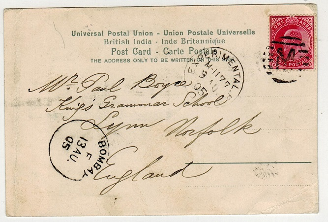 INDIA - 1905 1a rate postcard to UK used at EXPERIMENTAL P.O./M-1177.
