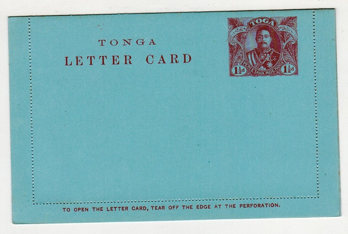 TONGA - 1912 1 1/2d claret on blue postal stationery letter card unused.  H&G 2.