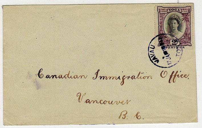 TONGA - 1921 2d rate cover  to Canada cancelled VAVAU/TONGA in