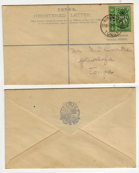 TONGA - 1940 3d dull grey blue RPSE used locally at NUKUALOFA. H&G 21.