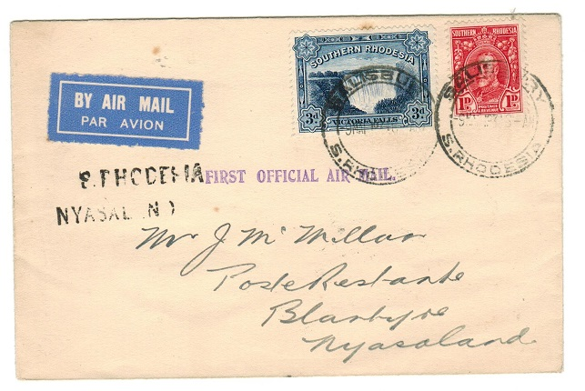 SOUTHERN RHODESIA - 1934 first flight cover to Nyasaland.