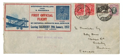 SOUTHERN RHODESIA - 1932 first flight cover to UK.