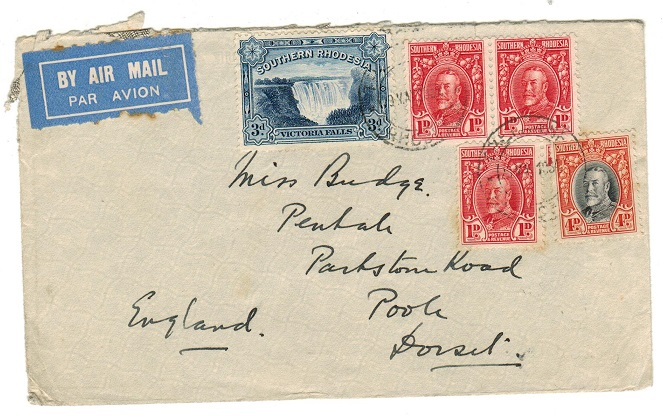 SOUTHERN RHODESIA - 1934 10d rate cover to UK used at TRELAWNEY.