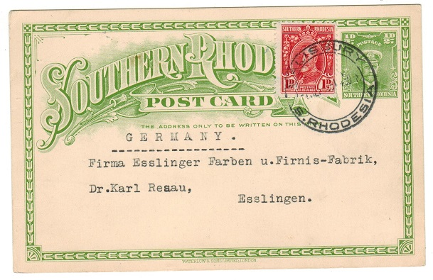 SOUTHERN RHODESIA - 1924 1/2d yellowish green PSC uprated to Germany and used at SALISBURY.  H&G 1a.