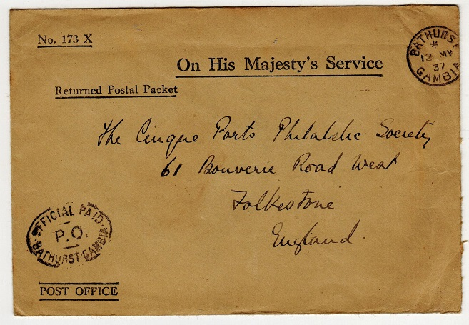 GAMBIA - 1937 OFFICIAL PAID/BATHURST