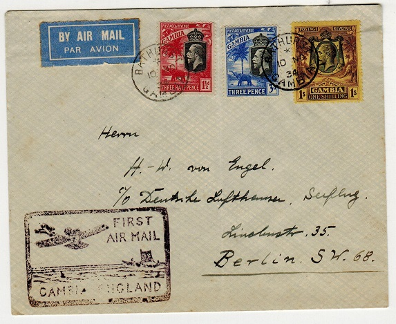 GAMBIA - 1934 first flight cover to Germany.