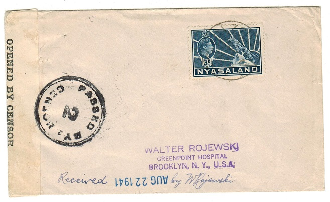 NYASALAND - 1942 3d rate censored cover to USA.
