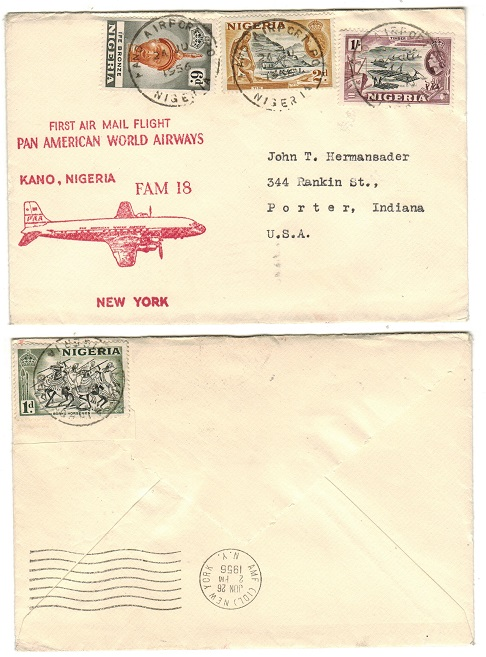 NIGERIA - 1956 First flight cover to USA by Pan American Airways from KANO AIRPORT.