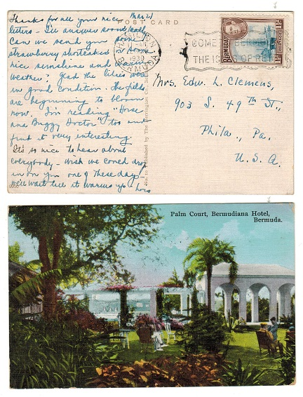 BERMUDA - 1939 1 1/2d rate postcard use to USA.