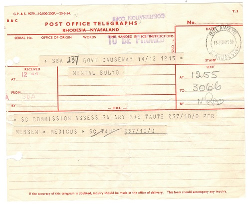 RHODESIA AND NYASALAND - 1959 POST OFFICE TELEGRAPHS telegram form used at BULAWAYO.