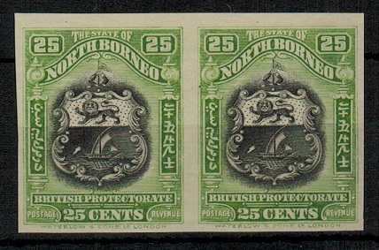 NORTH BORNEO - 1911 25c black and yellow-green IMPERFORATE PLATE PROOF pair.