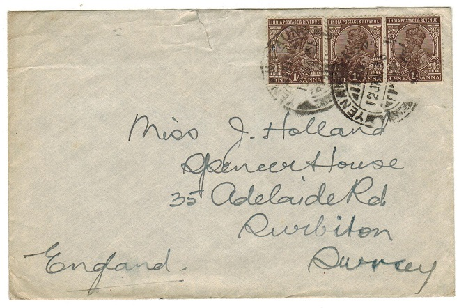 BURMA - 1936 3a rate cover to UK used at YENANGYAUMG.