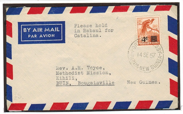 PAPUA NEW GUINEA - 1957 cover addressed to Buin used at PORT MORESBY.