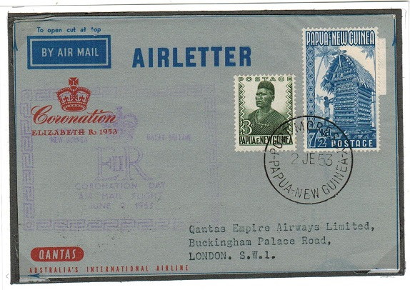 PAPUA NEW GUINEA - 1953 QANTAS CORONATION AIR LETTER first flight to UK used from PORT MORESBY.