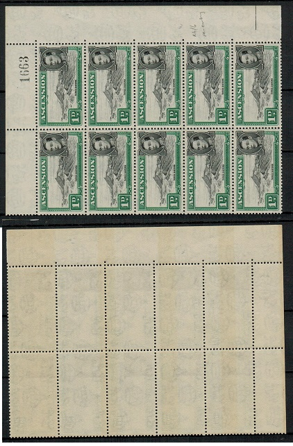 ASCENSION - 1949 1d mint block of ten showing RE-ENTRY on Row 4/6. SG 39d.
